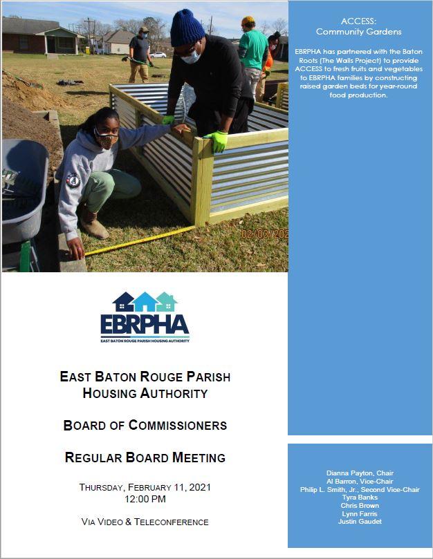 February 11, 2021 Board Meeting Agenda coversheet