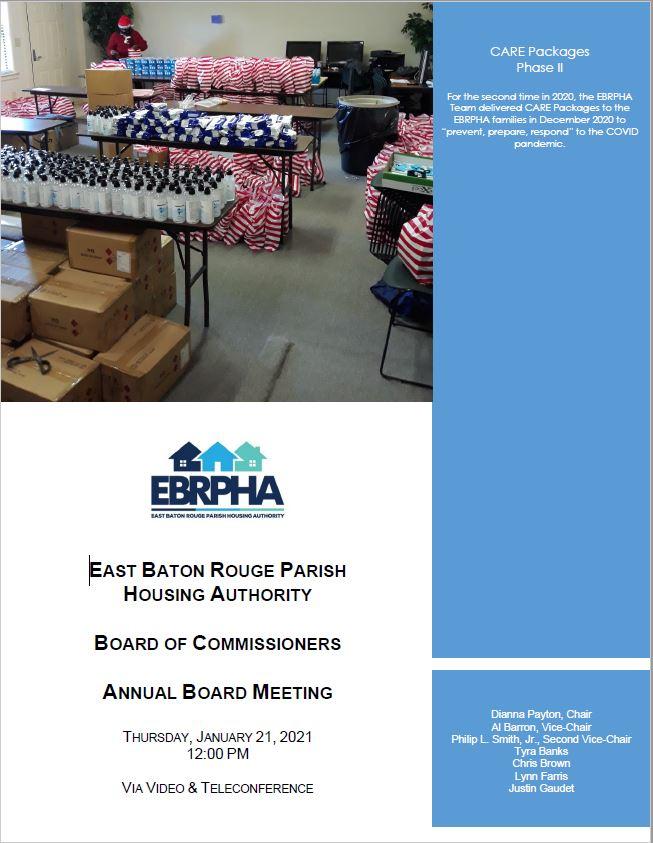 January 21, 2021 Board Meeting Agenda coversheet