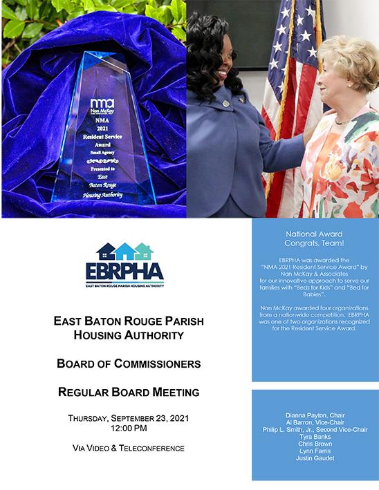 September 23, 2021 Board Meeting Agenda cover sheet